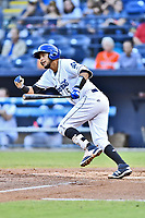 Asheville Tourists catcher Joel Diaz (5) swings at a pitch during a game against the Greenville Drive at McCormick Field on September 5, 2017 in Asheville, North Carolina. The Tourists defeated the Drive 4-2. (Tony Farlow/Four Seam Images)