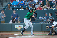 Anderson Tejeda (2) of the Down East Wood Ducks at bat against the Winston-Salem Dash at BB&T Ballpark on May 10, 2019 in Winston-Salem, North Carolina. The Wood Ducks defeated the Dash 9-2. (Brian Westerholt/Four Seam Images)