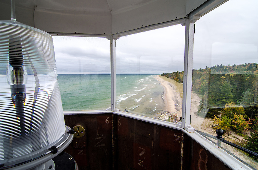 The view from the Crisp Point Lighthouse looking down the Lake Superior shoreline. Northeast of Newberry, MI