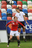 Yael Averbuch wins a header against Norway during the 2010 Algarve Cup