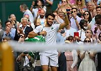 9th July 2021, Wimbledon, SW London, England; 2021 Wimbledon Championships, semi finals;  Matteo Berrettini , Italy celebrates his semi-final win over Hubert Hurkacz (Pol)