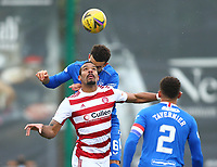 7th February 2021; Fountain of Youth Stadium Hamilton, South Lanarkshire, Scotland; Scottish Premiership Football, Hamilton Academical versus Rangers; Connor Goldson of Rangers challenger for the header above Marios Ogkmpoe of Hamilton Academical