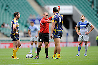 Andrew Smith of the Brumbies is given a red card for a spear tackle on Igor Klyuchnikov of VVA Saracens Moscow during the World Club 7s at Twickenham on Sunday 18th August 2013 (Photo by Rob Munro)