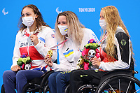 28th August 2021; Tokyo, Japan;  Grace Harvey (GBR),Yelyzaveta Mereshko (UKR), Verena Schott (GER),<br />  Swimming : Women's 100m Breaststroke SB5 Medal Ceremonyduring the Tokyo 2020 Paralympic Games at the Tokyo Aquatics Centre in Tokyo, Japan.