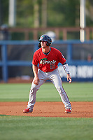 Fort Myers Miracle Ben Rortvedt (15) leads off second base during a Florida State League game against the Charlotte Stone Crabs on April 6, 2019 at Charlotte Sports Park in Port Charlotte, Florida.  Fort Myers defeated Charlotte 7-4.  (Mike Janes/Four Seam Images)