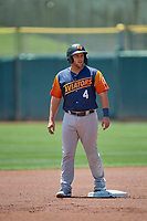 Jacob Wilson (4) of the Las Vegas Aviators stands at second base against the Salt Lake Bees at Smith's Ballpark on June 27, 2021 in Salt Lake City, Utah. The Aviators defeated the Bees 5-3. (Stephen Smith/Four Seam Images)
