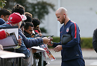 TORONTO, ON - OCTOBER 15: Michael Bradley #4 of the United States signs autographs as he enters the stadium during a game between Canada and USMNT at BMO Field on October 15, 2019 in Toronto, Canada.