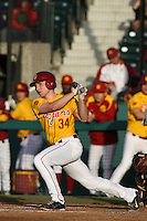Kevin Swick #34 of the USC Trojans bats against the California Bears at Dedeaux Field on April 5, 2012 in Los Angeles,California. California defeated USC 5-4.(Larry Goren/Four Seam Images)
