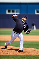 New York Yankees pitcher David Palladino (85) delivers a pitch during a minor league Spring Training game against the Detroit Tigers on March 22, 2017 at the Yankees Complex in Tampa, Florida.  (Mike Janes/Four Seam Images)