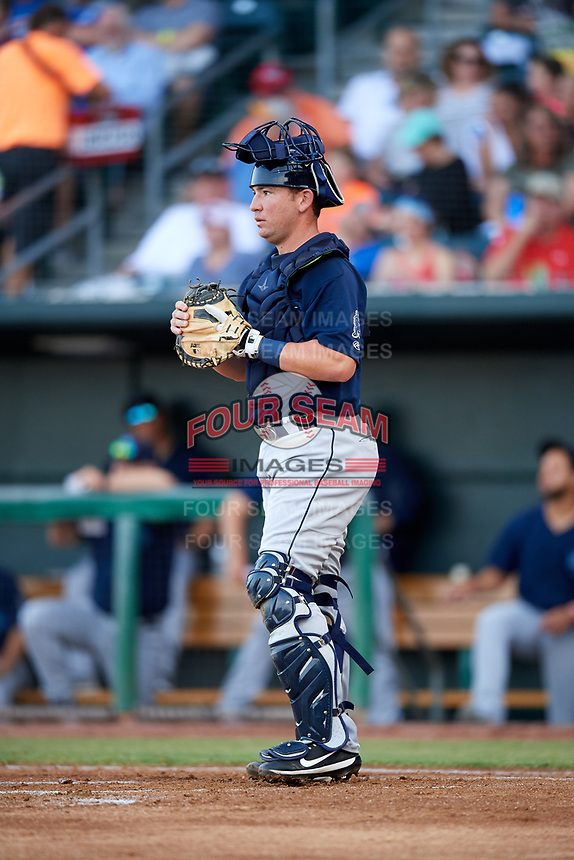 Mobile BayBears catcher Michael Barash (16) during a game against the Jacksonville Jumbo Shrimp on April 14, 2018 at Baseball Grounds of Jacksonville in Jacksonville, Florida.  Mobile defeated Jacksonville 13-3.  (Mike Janes/Four Seam Images)