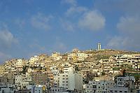 Cityscape and the citadel of the Roman theatre on a hillside, Amman, Jordan.