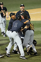The Wake Forest Demon Deacons celebrate their win over the West Virginia Mountaineers in Game Six of the Winston-Salem Regional in the 2017 College World Series at David F. Couch Ballpark on June 4, 2017 in Winston-Salem, North Carolina.  The Demon Deacons defeated the Mountaineers 12-8.  (Brian Westerholt/Four Seam Images)