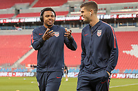 TORONTO, ON - OCTOBER 15: Weston McKennie #8 and Christian Pulisic #10 of the United States clown around during a game between Canada and USMNT at BMO Field on October 15, 2019 in Toronto, Canada.
