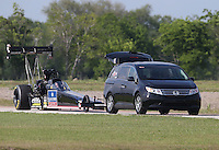 Apr. 26, 2013; Baytown, TX, USA: NHRA top fuel dragster driver David Grubnic during qualifying for the Spring Nationals at Royal Purple Raceway. Mandatory Credit: Mark J. Rebilas-