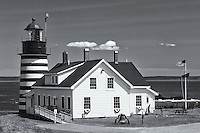 West Quoddy Head Light in Lubec, Maine protects the eastern-most point of land in the United States.