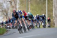 peloton descending with Michał Gołaś (POL/INEOS Grenadiers) leading<br /> <br /> 107th Liège-Bastogne-Liège 2021 (1.UWT)<br /> 1 day race from Liège to Liège (259km)<br /> <br /> ©kramon