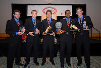 DC United award recipients Ben Olsen, Bryan Namoff, Jaime Moreno, Luciano Emilio and Bobby Boswell show their awards. DC United 4th Annual Awards Reception honoring player achievements for the 2007 season took place  at the Ronald Reagan Building in Washington, DC on October 22, 2007.