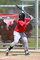 Boston Red Sox minor league infielder Jorge Padron (40) during a game vs. the Minnesota Twins in an Instructional League game at Lee County Sports Complex in Fort Myers, Florida;  October 2, 2010.  Photo By Mike Janes/Four Seam Images