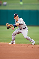 Colorado Springs Sky Sox second baseman Nate Orf (6) during a game against the Oklahoma City Dodgers on June 2, 2017 at Chickasaw Bricktown Ballpark in Oklahoma City, Oklahoma.  Colorado Springs defeated Oklahoma City 1-0 in ten innings.  (Mike Janes/Four Seam Images)