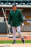 Lynchburg Hillcats manager Luis Salazar #4 during batting practice prior to the game against the Winston-Salem Dash at BB&T Ballpark on May 7, 2011 in Winston-Salem, North Carolina.   Photo by Brian Westerholt / Four Seam Images