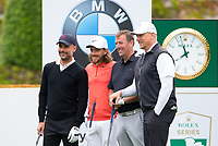 (l-r) Pep Guardiola (Manchester City Manager), Tommy Fleetwood, Matt Le Tissier (former footballer) & Peter Schmeichel (former footballer) during the BMW PGA PRO-AM GOLF at Wentworth Drive, Virginia Water, England on 23 May 2018. Photo by Andy Rowland.