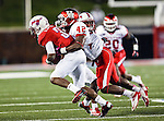 Southern Methodist Mustangs wide receiver Darius Johnson (3) and Houston Cougars linebacker Phillip Steward (42) in action during the game between the University of Houston Cougars and the Southern Methodist Mustangs at the Gerald J. Ford Stadium in Dallas, Texas. SMU defeats Houston 72 to 42....