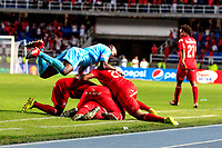 CALI - COLOMBIA  - 01 -  10  -  2017: Los jugadores de America, celebran el segundo gol anotado a Cortulua, durante partido entre America de Cali y Cortulua de la fecha 14 por la Liga Aguila II 2017 jugado en el estadio Pascual Guerrero de la ciudad de Cali. / The players of America celebrate the second scored goal to Cortulua, during a match between America de Cali and Cortulua of the date 14th for the Liga Aguila II 2017 at the Pascual Guerrero stadium in Cali city. Photo: VizzorImage / Nelson Rios / Cont.