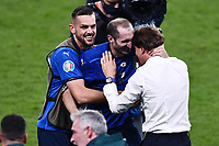 11th July 2021; Wembley Stadium, London, England; 2020 European Football Championships Final England versus Italy; Giorgio Chiellini celebrates winning the penalty shootout with manager Roberto Mancini