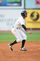 Trae Arbet (7) of the Bristol Pirates takes his lead off of second base against the Johnson City Cardinals at Boyce Cox Field on July 7, 2015 in Bristol, Virginia.  The Cardinals defeated the Pirates 4-1 in game one of a double-header. (Brian Westerholt/Four Seam Images)