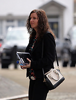 """Pictured: Nursery owner Katie Davies arrives at Swansea Crown Court. 28 March 2017<br /> Re: Toddlers at a private nursery were force fed, gagged and picked up by their wrists, Swansea Crown court has heard.<br /> Three childcare professionals are accused of cruelty at the busy nursery which had a """"rough house culture"""".<br /> The whistle was blown by sixthformers on work placements at the nursery which looks after newborn infants and children up to the age of seven.<br /> """"The children concerned were left distressed and traumatised.<br /> The mother of one of the children sobbed in the public gallery after hearing how he was treated at the Bright Sparks nursery in Port Talbot, South Wales,<br /> Owner and manager Katie Davies, 32, deputy manager Christina Pinchess, 31, and and staff member Shelbie Forgan, 22, deny the child cruelty charges against them."""