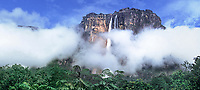 940000004 panoramic view of angel falls the tallest waterfalll in the world and auyan tepui  rise up from the clouds and tropical rain forest in the wild and remote lost world area of canaima national park venezuela