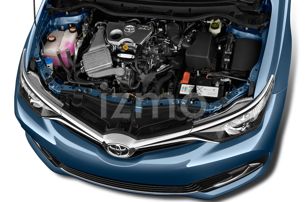 Car Stock 2015 Toyota Auris Dynamic 5 Door Hatchback Engine high angle detail view