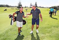 Ryan Fox with caddy Steve Williams after winning the Autex Muriwai Golf Open, Muriwai Links, Auckland, New Zealand, Sunday 11 April 2021 Photo: Simon Watts/www.bwmedia.co.nz
