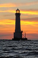 Sunset at Great Basses Reef lighthouse off southwestern Sri Lanka.