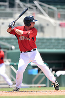 GCL Red Sox catcher Alex McKeon (37) at bat during a game against the GCL Rays on June 25, 2014 at JetBlue Park at Fenway South in Fort Myers, Florida.  GCL Red Sox defeated the GCL Rays 7-0.  (Mike Janes/Four Seam Images)