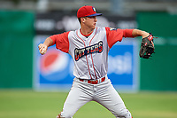 Williamsport Crosscutters third baseman Seth Lancaster (26) throws to first base during a game against the Batavia Muckdogs on June 22, 2018 at Dwyer Stadium in Batavia, New York.  Williamsport defeated Batavia 9-7.  (Mike Janes/Four Seam Images)