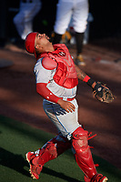 Clearwater Threshers catcher Deivi Grullon (13) tracks a pop up during a game against the Bradenton Marauders on July 24, 2017 at LECOM Park in Bradenton, Florida.  Bradenton defeated Clearwater 6-3  (Mike Janes/Four Seam Images)
