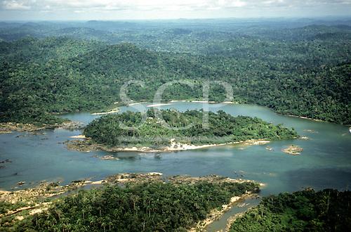 Xingu river, Para State, Brazil. Aerial view of Tataquara island.