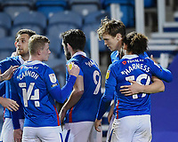 Sean Raggett of Portsmouth (20) is congratulated on scoring the first goal by Marcus Harness of Portsmouth during Portsmouth vs Oxford United, Sky Bet EFL League 1 Football at Fratton Park on 24th November 2020