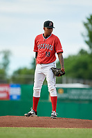 Batavia Muckdogs starting pitcher Humberto Mejia (19) looks in for the sign during a game against the West Virginia Black Bears on June 19, 2018 at Dwyer Stadium in Batavia, New York.  West Virginia defeated Batavia 7-6.  (Mike Janes/Four Seam Images)
