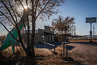 Along a two lane highway in rural America, a dinosaur guards a roadside diner's parking lot at Smokey's Cafe & Rosie's Kitchen in Jensen, Utah, USA.
