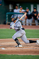 Todd Isaacs (1) of the Grand Junction Rockies at bat against the Ogden Raptors at Lindquist Field on September 9, 2019 in Ogden, Utah. The Raptors defeated the Rockies 6-5. (Stephen Smith/Four Seam Images)