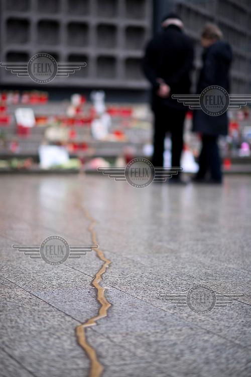 A vein of metal that forms part of a memorial for the 19 December Breitscheidplatz Christmas market terror attack.