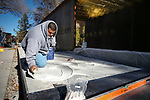 A Premier Tile and Stone crew makes repairs to the Battle Born Memorial at the Capitol, in Carson City, on Monday, Dec. 17, 2018. The memorial, honoring Nevada's 895 fallen service members, was damaged by four teens on bikes and scooters just days after it was dedicated.  <br /> Photo by Cathleen Allison/Nevada Momentum