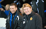 St Johnstone v Motherwell....26.01.11  .Stuart McCall and Derek McInnes all smiles before kick off.Picture by Graeme Hart..Copyright Perthshire Picture Agency.Tel: 01738 623350  Mobile: 07990 594431