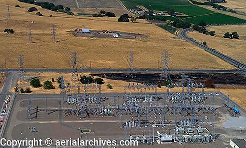 aerial photograph PG&E electrical sub-station Petaluma, Sonoma county, California