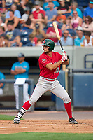 Fort Wayne TinCaps Justin Lopez (20) bats during a game against the West Michigan Whitecaps on August 21, 2021 at LMCU Ballpark in Comstock Park, Michigan.  (Mike Janes/Four Seam Images)