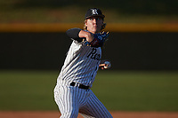 Reagan Raiders starting pitcher Josh Hartle (5) in action against the Reynolds Demons at Ronald Wilson Reagan High School on May 11, 2021 in Pfafftown, North Carolina. (Brian Westerholt/Four Seam Images)