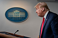United States President Donald J. Trump pauses after speaking during a news conference in the Brady Press Briefing Room of the White House in Washington, D.C., U.S., on Friday, May 22, 2020. Trump ordered states to allow churches to reopen from stay-at-home restrictions imposed to combat the coronavirus outbreak, saying he would override any governor who refuses. <br /> Credit: Andrew Harrer / Pool via CNP/AdMedia