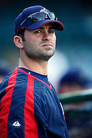 David Dellucci of the Cleveland Indians during batting practice before a game from the 2007 season at Angel Stadium in Anaheim, California. (Larry Goren/Four Seam Images)